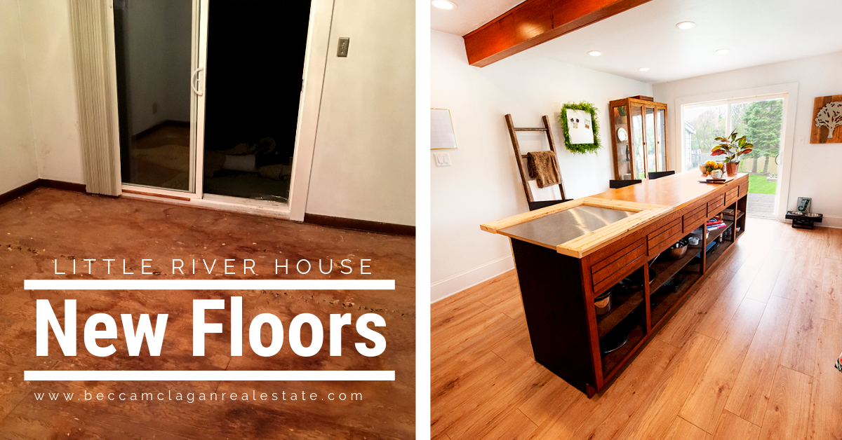 Kitchen flooring before and after of the Little River House by Becca McLagan Real Estate