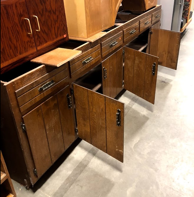 salvaged cabinets for DIY kitchen Island